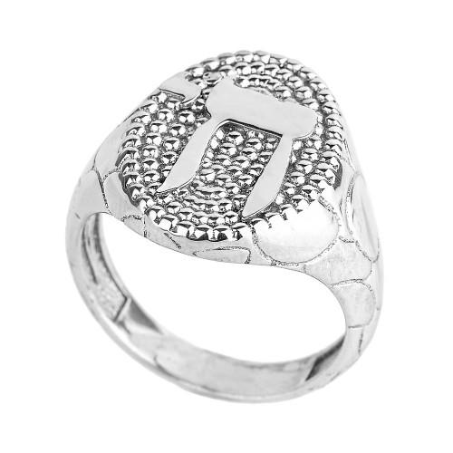 Sterling Silver Chai Men's Ring