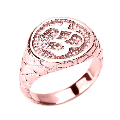 Rose Gold Textured Band Om/Ohm Men's Ring