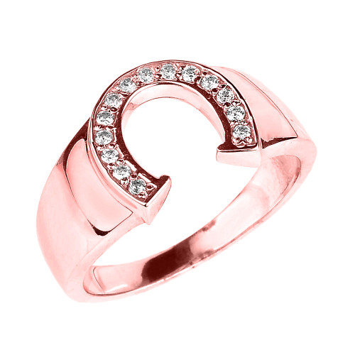 Rose Gold Cubic Zirconia Horseshoe Men's Ring