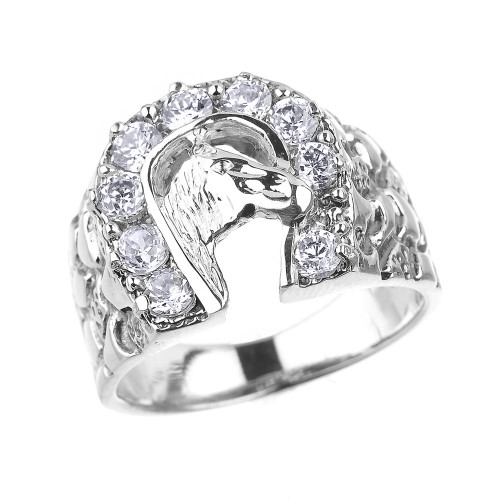 Sterling Silver Nugget Band Horseshoe with Horse Head CZ Men's Ring