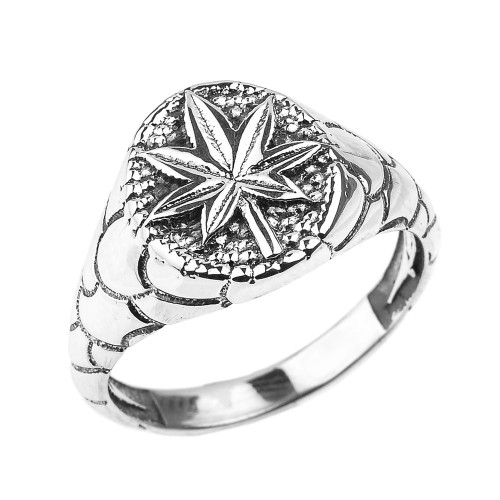 Sterling Silver Cannabis Marijuana Leaf Unisex Ring
