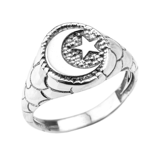 Sterling Silver Islamic Crescent Moon Unisex Ring