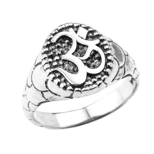 Sterling Silver Textured Band Oval Om/Ohm Men's Ring