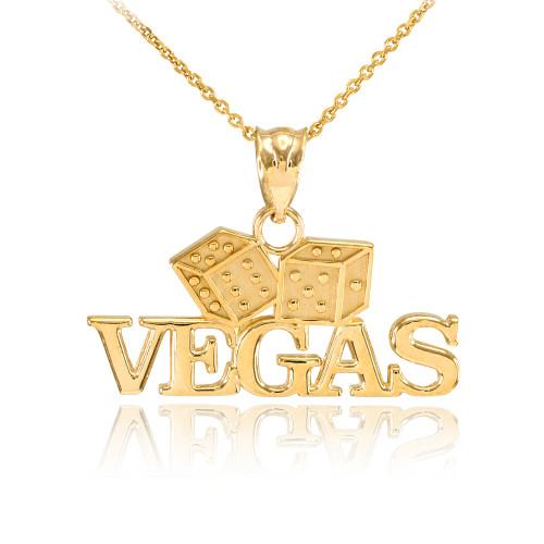 Gold VEGAS Dice Pendant Necklace