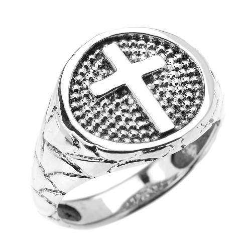 Sterling Silver Textured Band Christian Religious Cross Men's Ring