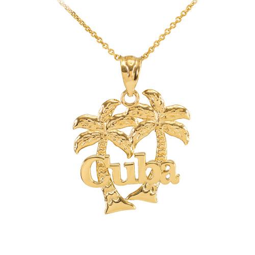 Gold Cuba Palm Tree Pendant Necklace