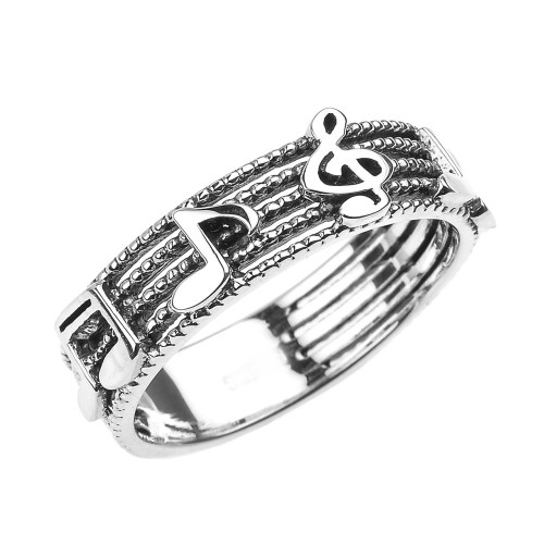 Sterling Silver Treble Clef with Musical Notes Band Ring 6 MM
