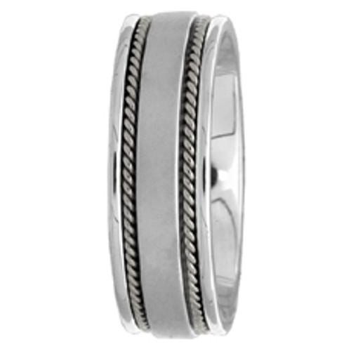14k White Gold Wedding Band Hand-Braided