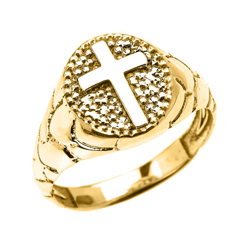 Yellow Gold Textured Band Oval Christian Religious Cross Men's Ring