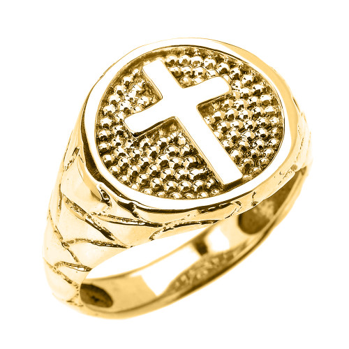 Yellow Gold Textured Band Christian Religious Cross Men's Ring