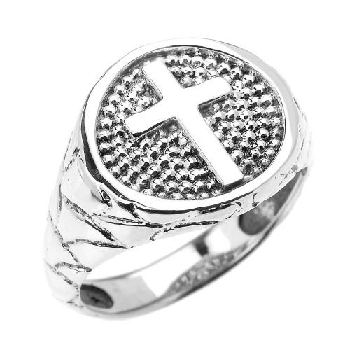 White Gold Textured Band Christian Religious Cross Men's Ring