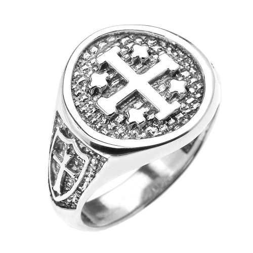 White Gold Jerusalem Crusaders Cross Five Wounds of Christ Men's Ring