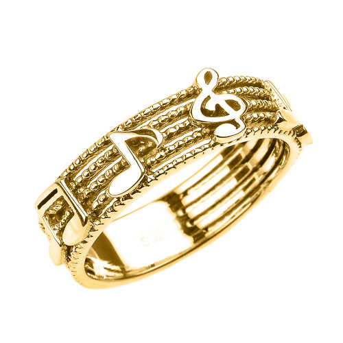 Yellow Gold Treble Clef with Musical Notes Band Ring 6 MM