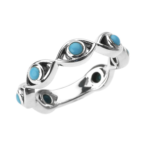Sterling Silver Turquoise Evil Eye Band