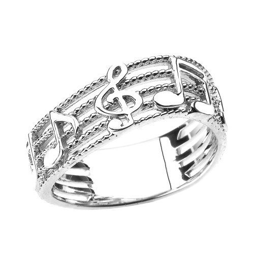 White Gold Treble Clef with Musical Notes Wavy Band Ring 7.5 MM