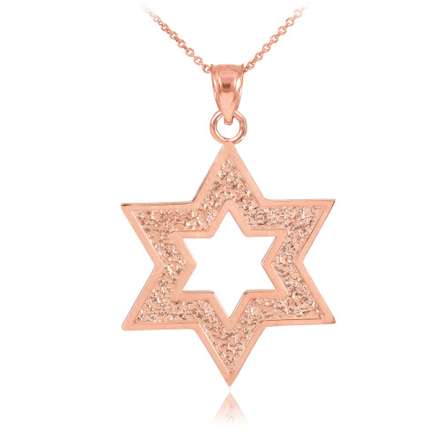 Rose Gold Textured Star Of David Pendant Necklace