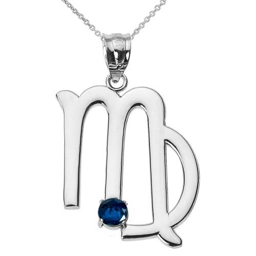 White Gold Virgo Zodiac Sign September Birthstone Pendant Necklace