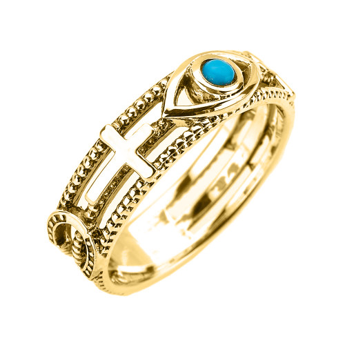 Yellow Gold Milgrain Sideways Cross Turquoise Evil Eye Good Luck Ring