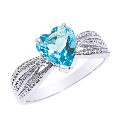 Beautiful White Gold Blue Topaz and Diamond Proposal Ring