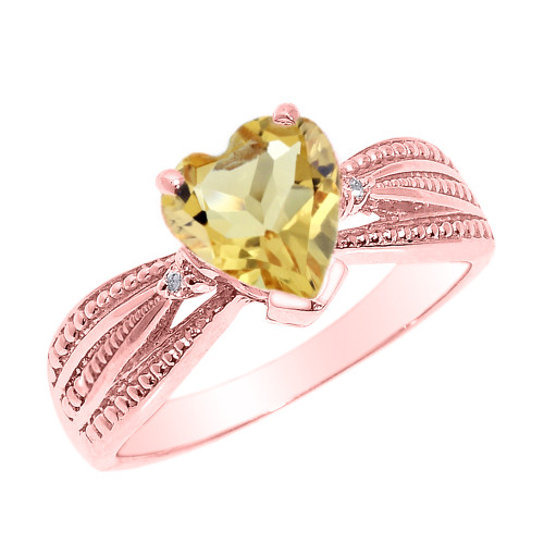 Beautiful Rose Gold Citrine and Diamond Proposal Ring