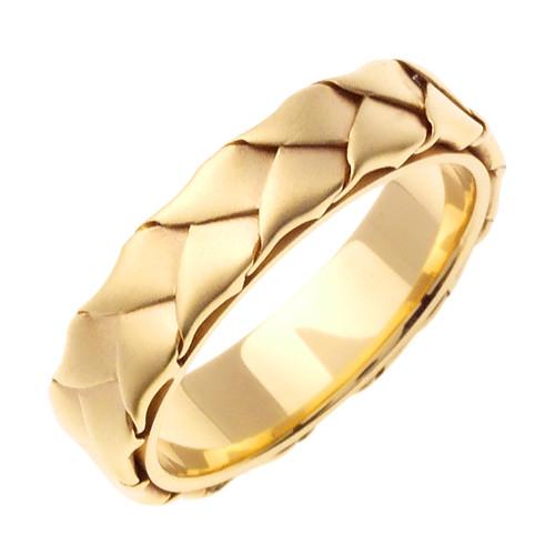 Gold Hand Braided Wedding Band