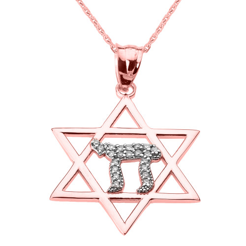 Rose Gold Star of David with Chai Diamond Pendant Necklace