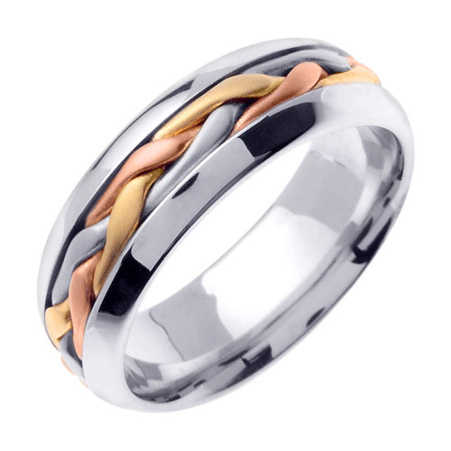 Hand Braided Wedding Band Tri-Color Gold