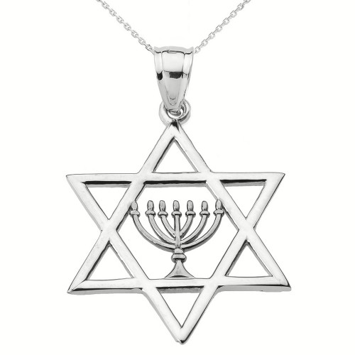 White Gold Star of David with Menorah Pendant Necklace