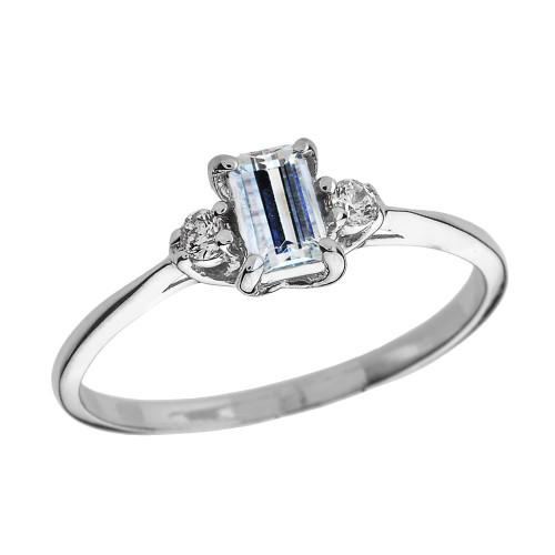 White Gold Diamond and Aquamarine Proposal and Birthstone Ring