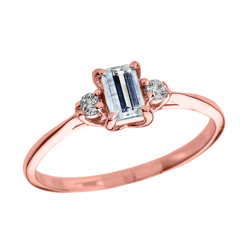 Rose Gold Diamond and Aquamarine Proposal and Birthstone Ring