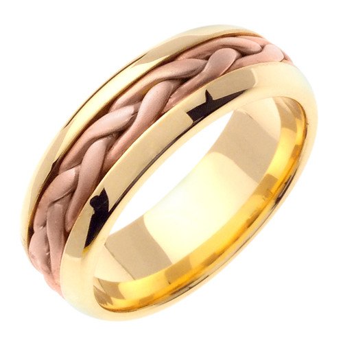 Hand Braided Wedding Band 14k Two Tone Gold