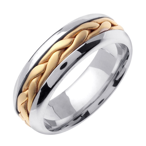Hand Braided Wedding Band Two Tone White Gold