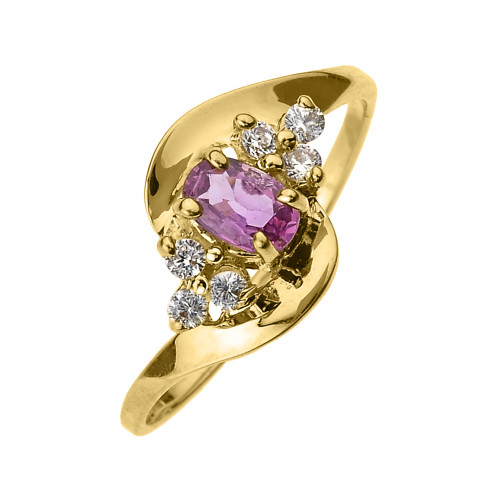 Beautiful Yellow Gold Diamond and Pink Sapphire Proposal and Birthstone Ring