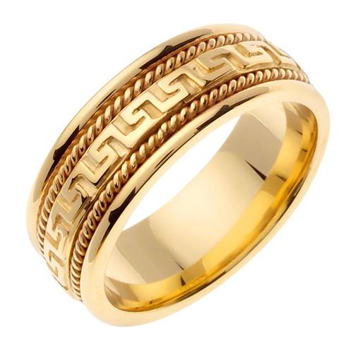 Gold Greek Key Wedding Band