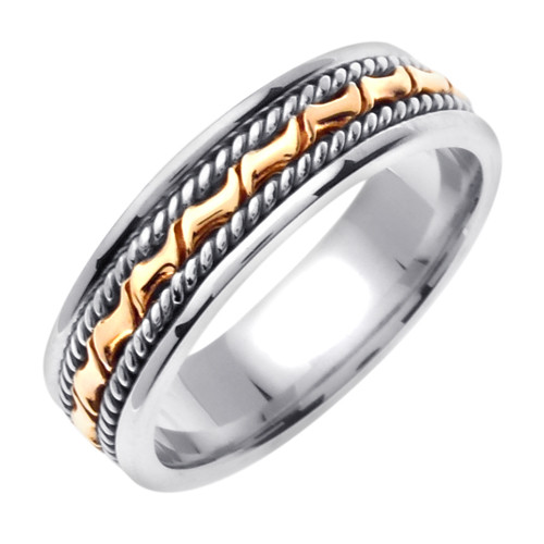 Hand Braided Two Tone Gold Wedding Band
