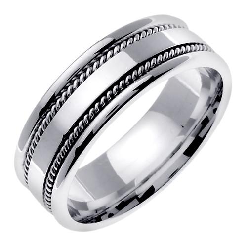 Hand Braided Wedding Band 14k White Gold