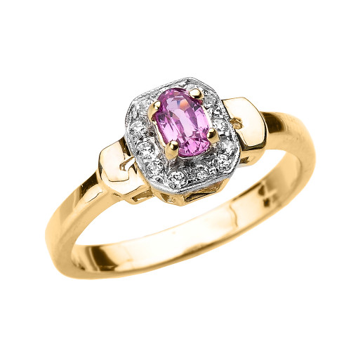 Yellow Gold Pink Sapphire and Diamond Engagement Ring