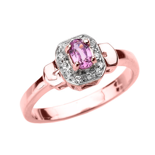 Rose Gold Pink Sapphire and Diamond Engagement Ring