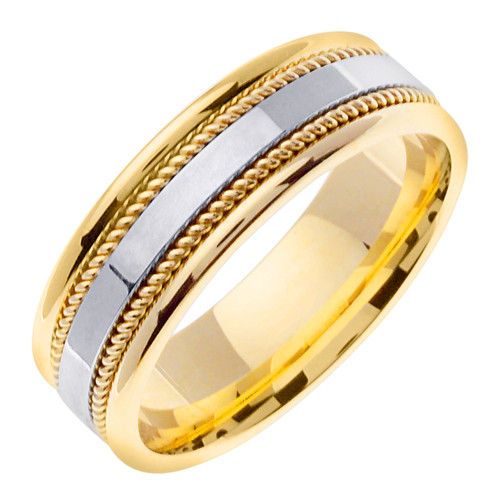 Hand Braided Wedding Band Two Tone Gold