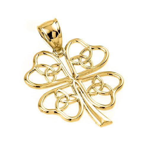 Yellow Gold Celtic Trinity Knot Clover Pendant