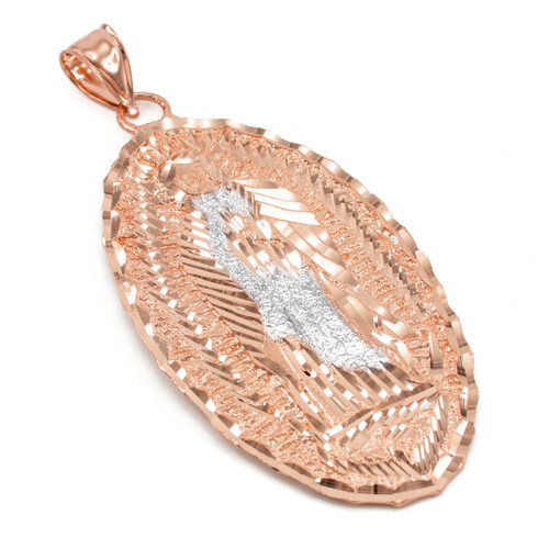 Our Lady of Guadalupe Rose Gold Extra Large Pendant