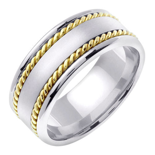 14k Two Tone Gold Hand Braided Wedding Band