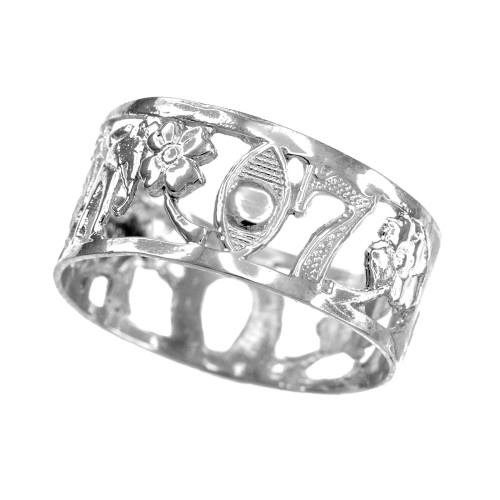 White Gold Lucky Ring