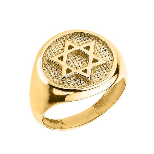 Solid Yellow Gold Jewish Star of David Men's Ring