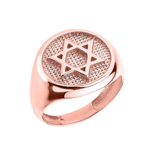 Solid Rose Gold Jewish Star of David Men's Ring