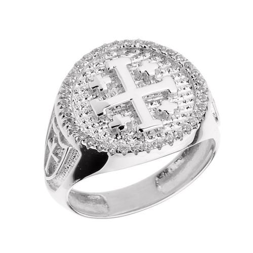 Solid White Gold Jerusalem Crusaders Cross Men's Diamond Ring