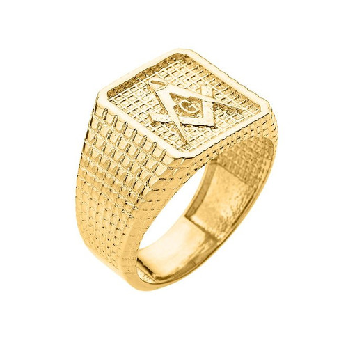Gold Textured Band Masonic Men's Ring