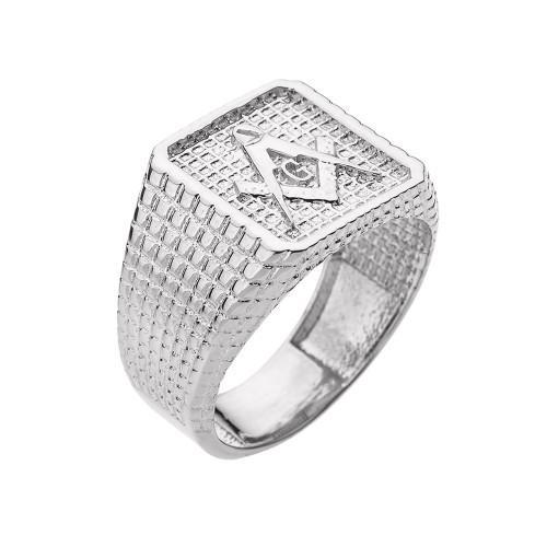 White Gold Textured Band Masonic Men's Ring