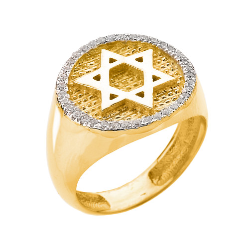 Solid Yellow Gold Jewish Star of David Men's Diamond Ring