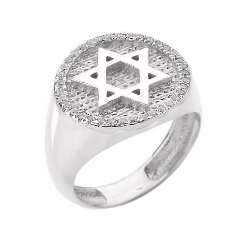 Solid White Gold Jewish Star of David Men's Diamond Ring